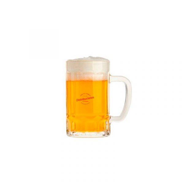 Jarra de cerveza personalizada con logotipo a un color